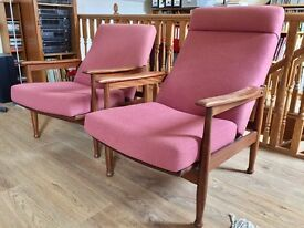 McIntosh re-upholstered reclining armchairs for sale