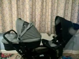 Abc design double pram buggy pushchair tandem 2 carrycots 2 seat units