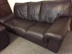 Luxury Harvey's 3 & 1 brown full leather sofa set - can deliver