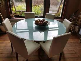 Frosted glass and wood round table