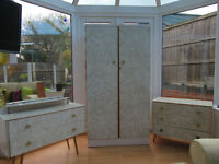 Retro -1960's Formica Wardrobe, Dressing Table and Chest of Drawers