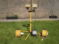 110 volt work lamps and stand, cable reels