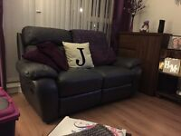 * SOLID TWO SEATER LEATHER RECLINER SOFA *