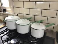 Vintage Enamel Saucepan Set - Kockum Sweden - x 3