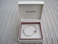 GENUINE Pandora Moments Sterling Silver Charm Bracelet 16 cms - Barrel Clasp