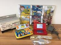 RED NINTENDO DS LITE BUNDLE 6 GAMES & ACCESORY PACK