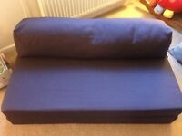 Immaculate Condition Navy Sofa Bed. Used once in our Campervan, small double. Ideal for kids room.