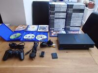 BOXED PS2 PLAYSTATION 2 BUNDLE, 1 CONSOLE, 1 CONTROLLER, S-VIDEO AND POWER LEADS, 52 BOXED GAMES
