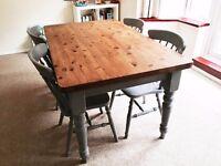 Chunky Farmhouse Laura Ashley Dining Table & Chairs