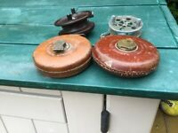 Vintage fishing reels and measuring tapes £15 the lot