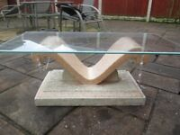 STUNNING MARBLEIEZE BEVEL EDGE PLATED GLASS TOPPED COFFEE TABLE