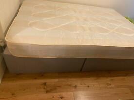 2 grey double divan beds w/mattress