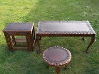 Vintage Indian Teak Carved Tables, Coffee, Nest & Side