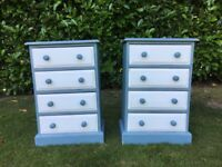 Pair of Hand Painted Solid Pine Shabby Chic Bedside Drawers