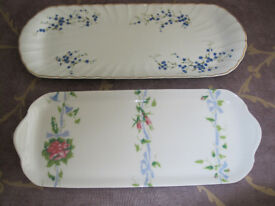 Two decorated Limoges china trays