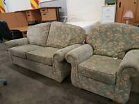 Light green floral design 2 seater and armchair sofa suite