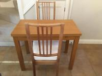 Extendable Table and 2 Chairs