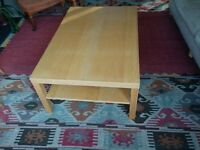 Low light wood table 2 metre by 1 metre, 40 cm high with shelf underneath, Ikea, light wood, perfect
