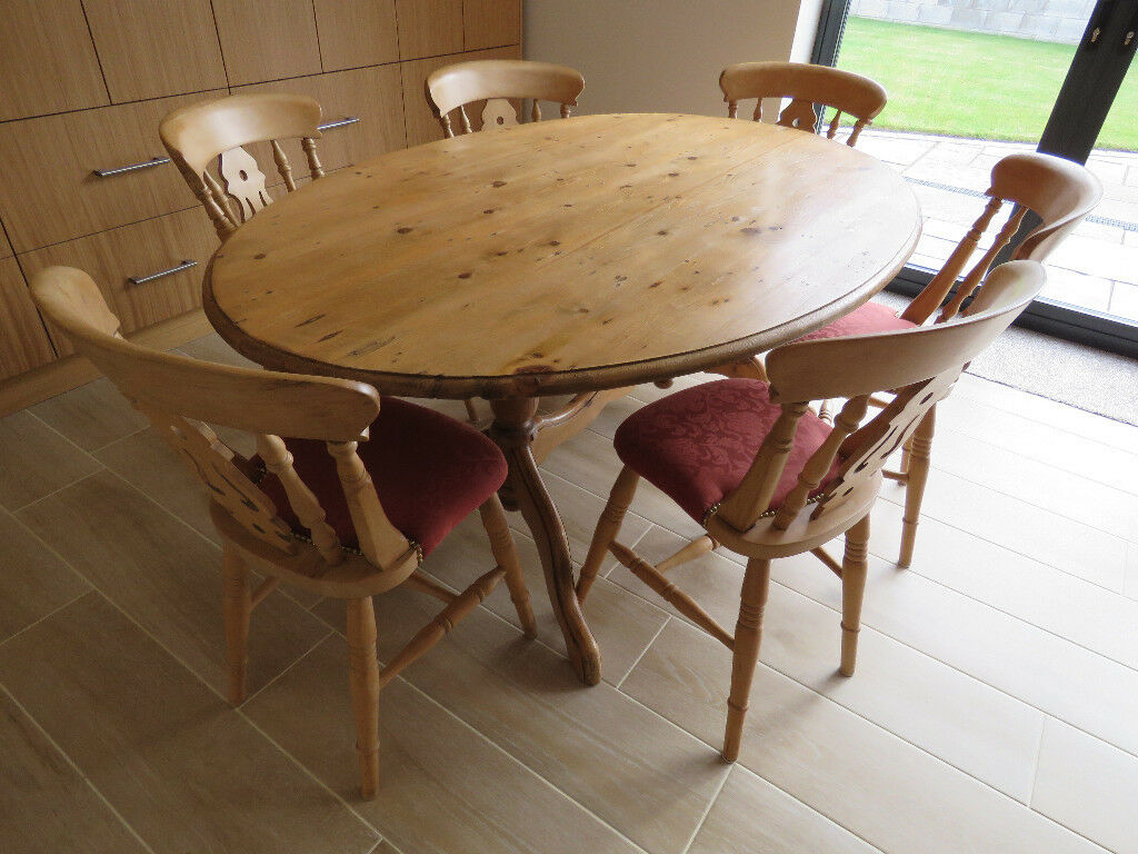 Large Oval Pine Dining Table And 6 Chairs For Sale