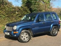 2004 JEEP CHEROKEE LIMITED CRD, 2.5 DIESEL ENGINE, SERVICE HISTORY & NEW MOT.