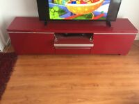 Red ikea tv bench