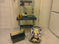 Child's Bosch Mini work bench, tool box and tool kit