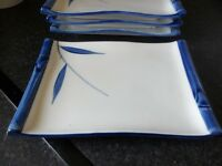 **Reduced** 4 x Sushi Blue/White Bamboo Design Serving Plates/Platters