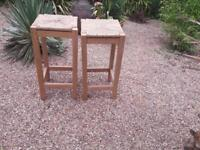 Solid Old Pine Stools. (Pair)