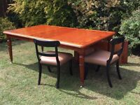 Dinning Table in American Cherry Wood with Mahogany Curl Banding c/w 2 Leaves