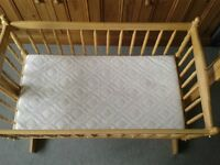 Wooden crib (Saplings Little Angels) plus two foam mattresses with removable covers