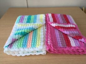 "2 Crocheted Lap Blankets. 43""x33"" Make a nice Christmas Gift. £25 each"