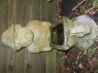 Vintage Stone Garden Ornament of Pig Pushing a Wheelbarrow
