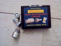 Milenco Locking Wheel Nuts for Caravan set of 2 - never used