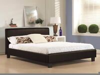 """""""FREE LONDON DELIVERY"""" Brand New Kingsize Leather Bed With 12inch Luxury Super Orthopedic Mattress"""