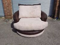 Superb Brand New brown and cream cord large (127cm) swivel cuddle love chair. Brand new. Can deliver