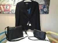 NEW+UNWORN .. LADIES SIZE 18 BLACK JACKET PLUS 2 REAL LEATHER SHOULDER BAGS