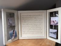 Beautiful white painted wooden frame for photos with canvas centrepiece featuring inspiring quote