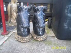 2 Lovely Horse Head Ornaments, painted black and gold, large and heavy.