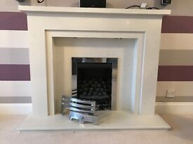 Gas Fire & Marble Surround with mood lighting