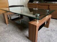 Glass & Walnut coffee table