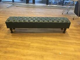 Leather Benches in Green & Brown Leather