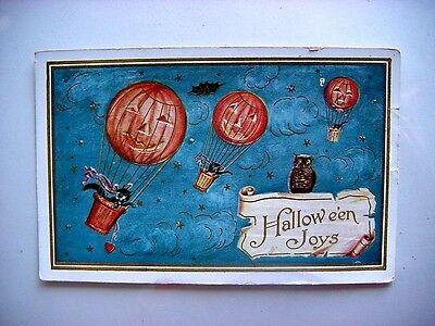 1912 JACK O LANTERN 3 HOT AIR BALLOONS CARRYING BLACK CAT OWL HALLOWEEN POSTCARD