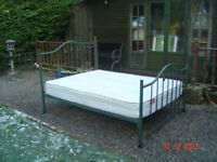 Double Metal Framed Bed with a Clean Sareer Double Mattress. Will Sell Separately . Can Deliver.