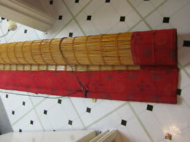Red silk and bamboo blind