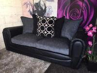 New Monico 3 Seater Sofa In Fabric And Faux Snakeskin in Charcoal Grey and Black