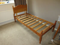 Pine base single bed frame with headboard