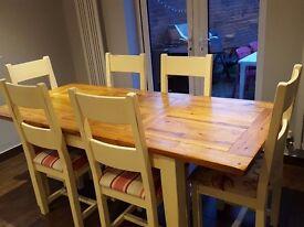 Oak & Cream Corndell Table & 6 Chairs