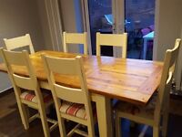 Oak & Cream Corndell Table & 6 Chairs