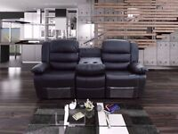 Rubeen Luxury 3 & 2 Bonded Leather Recliner Sofa SEt With Pull Down Drink Holder
