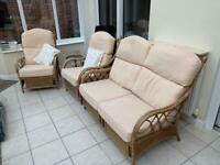 CANE CONSERVATORY SUITE (settee and 2 chairs)